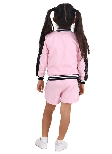 Silversun Kids Kız Çocuk Belden Lastikli Yanları Payet Detaylı Örme Şort Sc 215332 Pembe